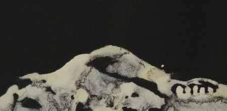 'The Stuff of Life' (detail), Bone powder and Acacia gum on black paper, Peter McLean, 2012